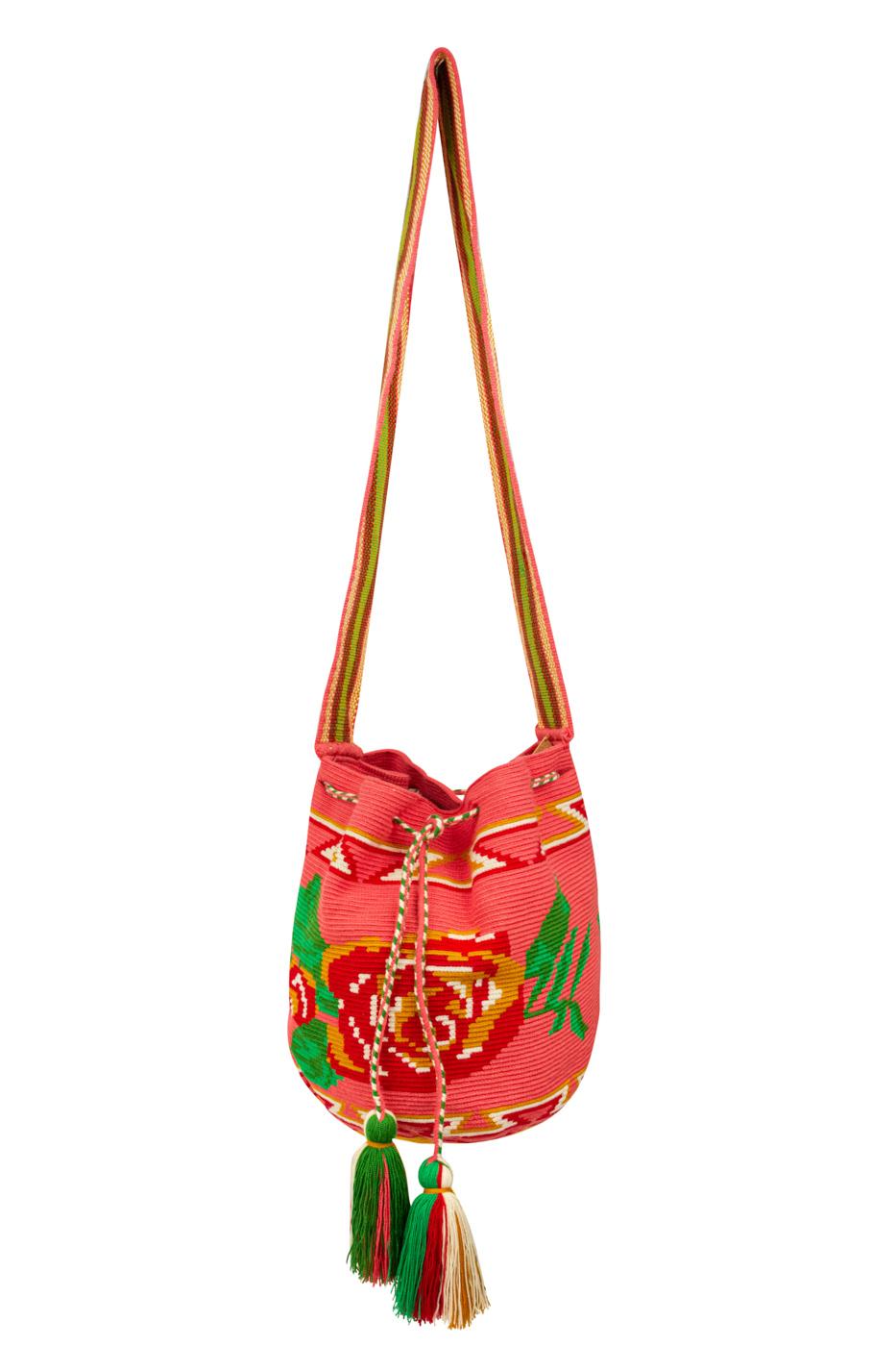 Mochila Wayuu Diseño Rosas