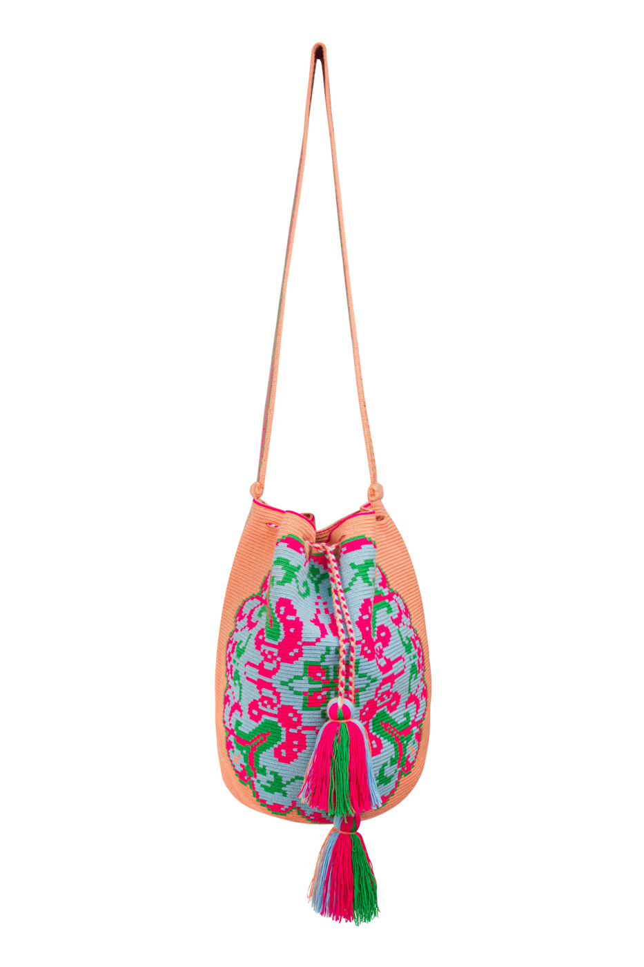 Mochila Wayuu Diseño Mandala Rosa