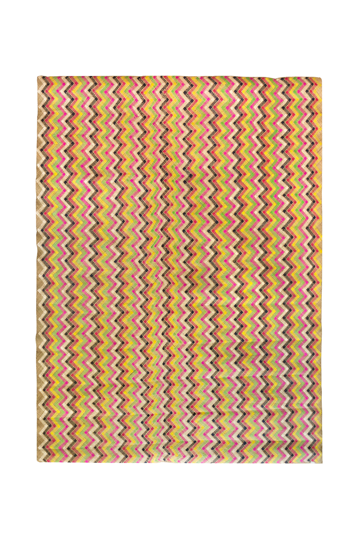 Multicoloured natural fibre mat