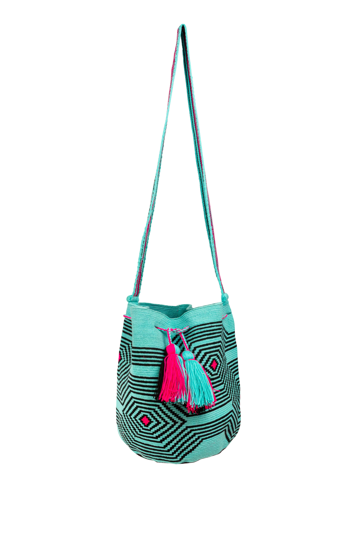Mochila Wayuu Diseño Araña Turquesa-Negro