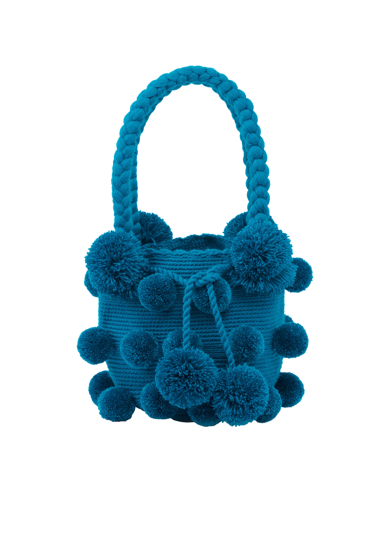 Backpack 26 blue pompoms turquoise