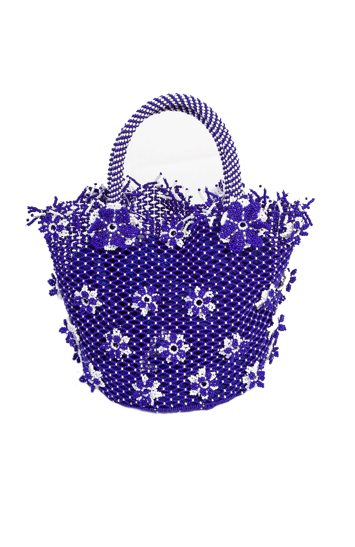 Blue chaquira flowers handbag
