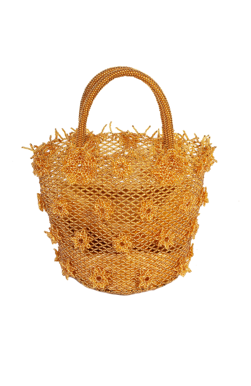 Golden chaquira flowers handbag