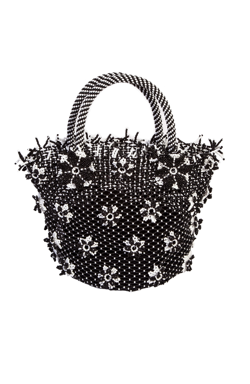 Black chaquira flowers handbag