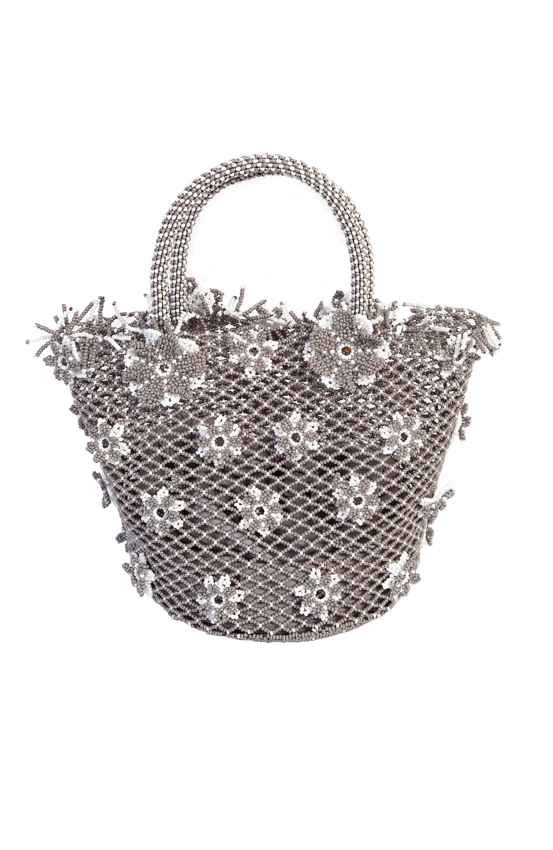 Grey chaquira flowers handbag