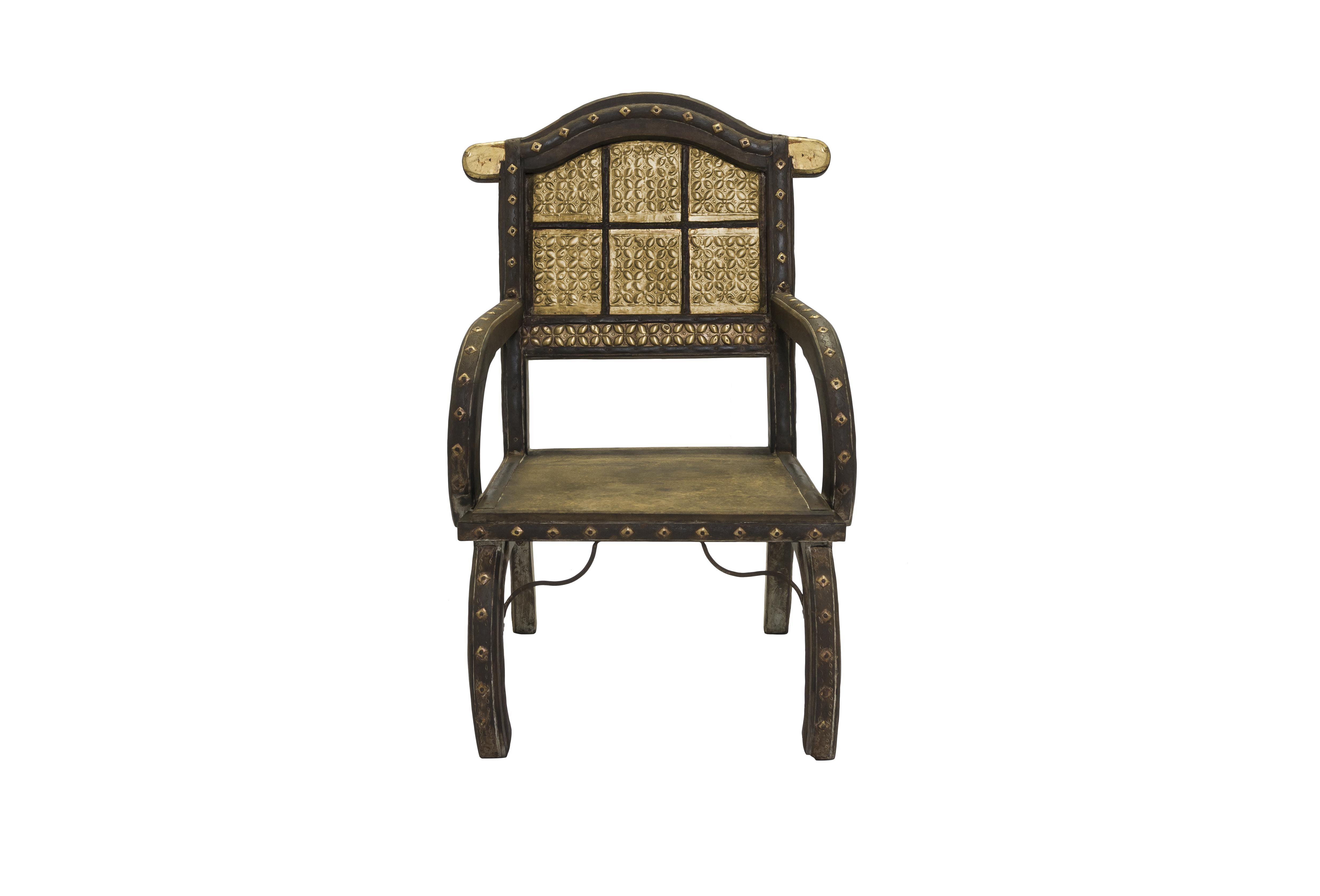 Silla India en madera y metal diseño rombos