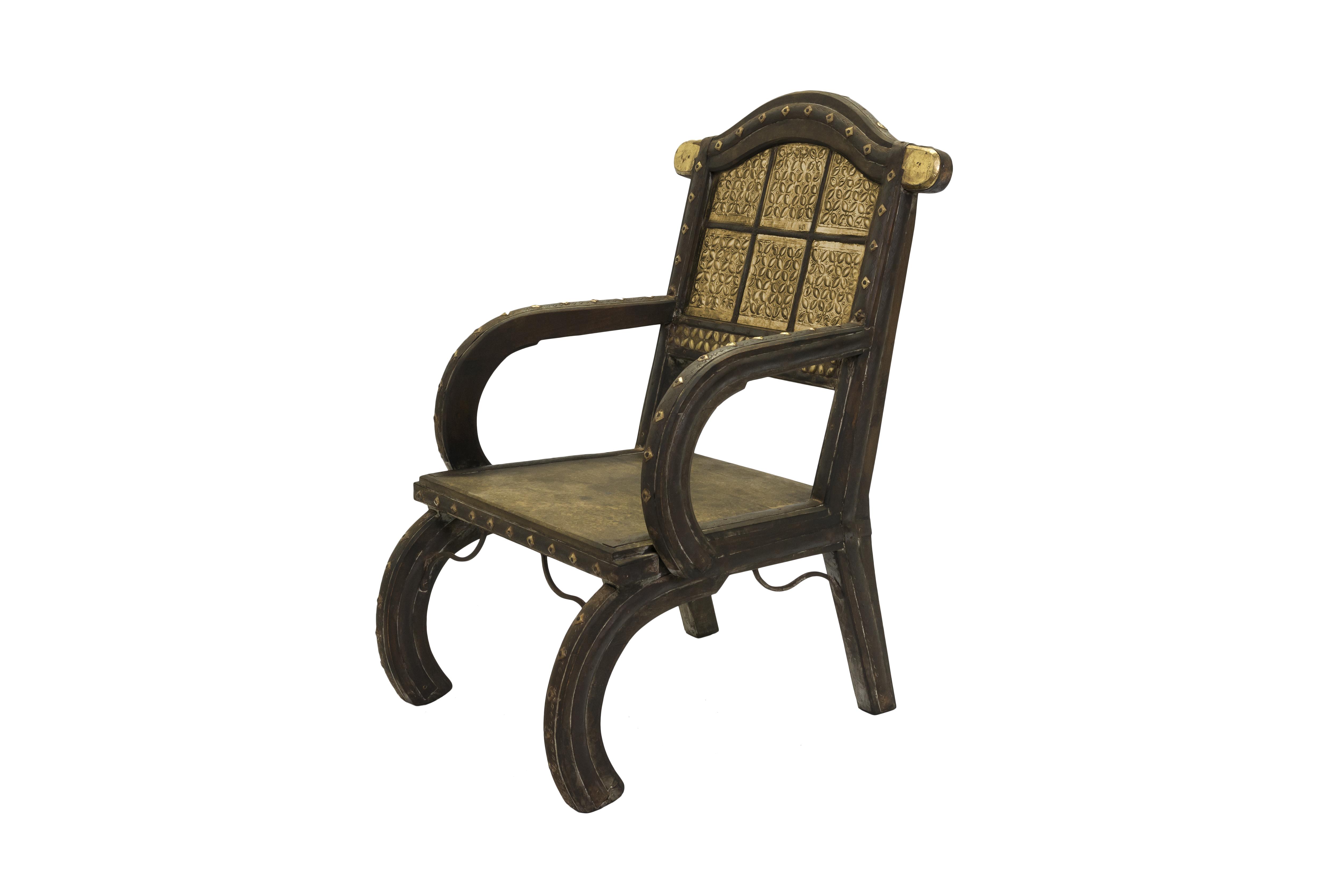 Silla India en madera y metal
