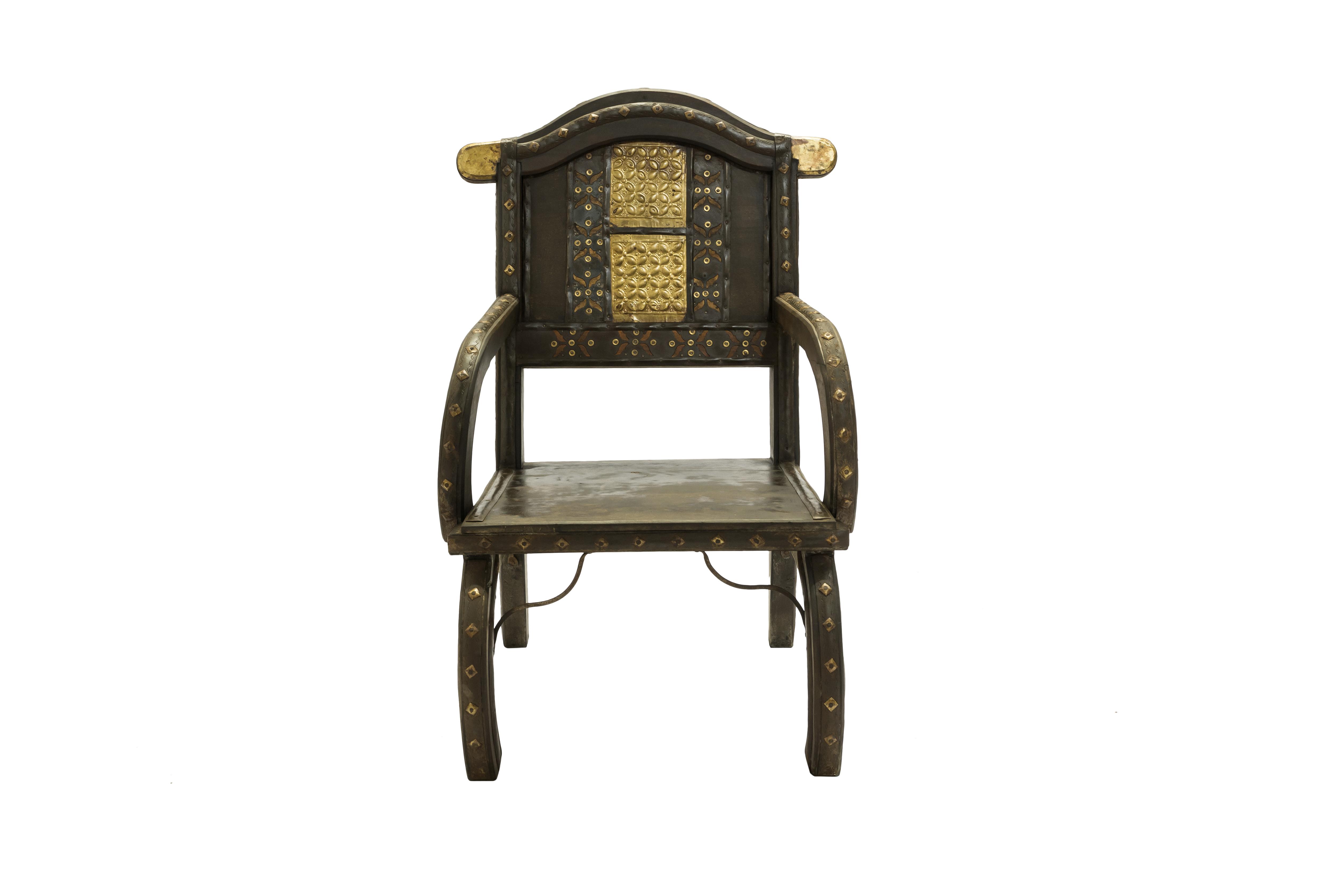 Silla India madera y metal diseño cuatrifolio