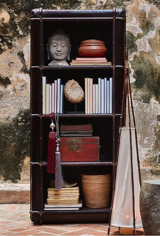 Biblioteca en cuero Coñac