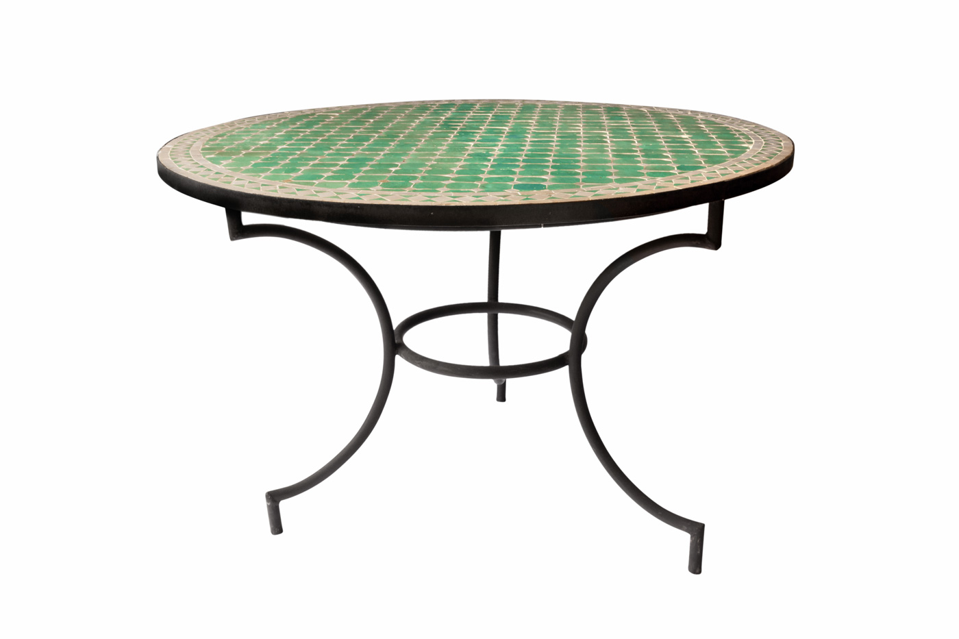 Traditional Moroccan mosaic table, green - white