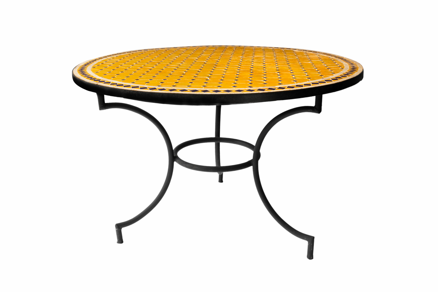 Moroccan traditional mosaic table, yellow-white