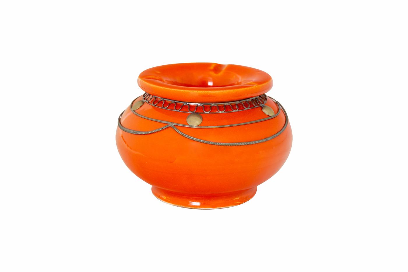 Cenicero Marroquí en cerámica y metal, naranja