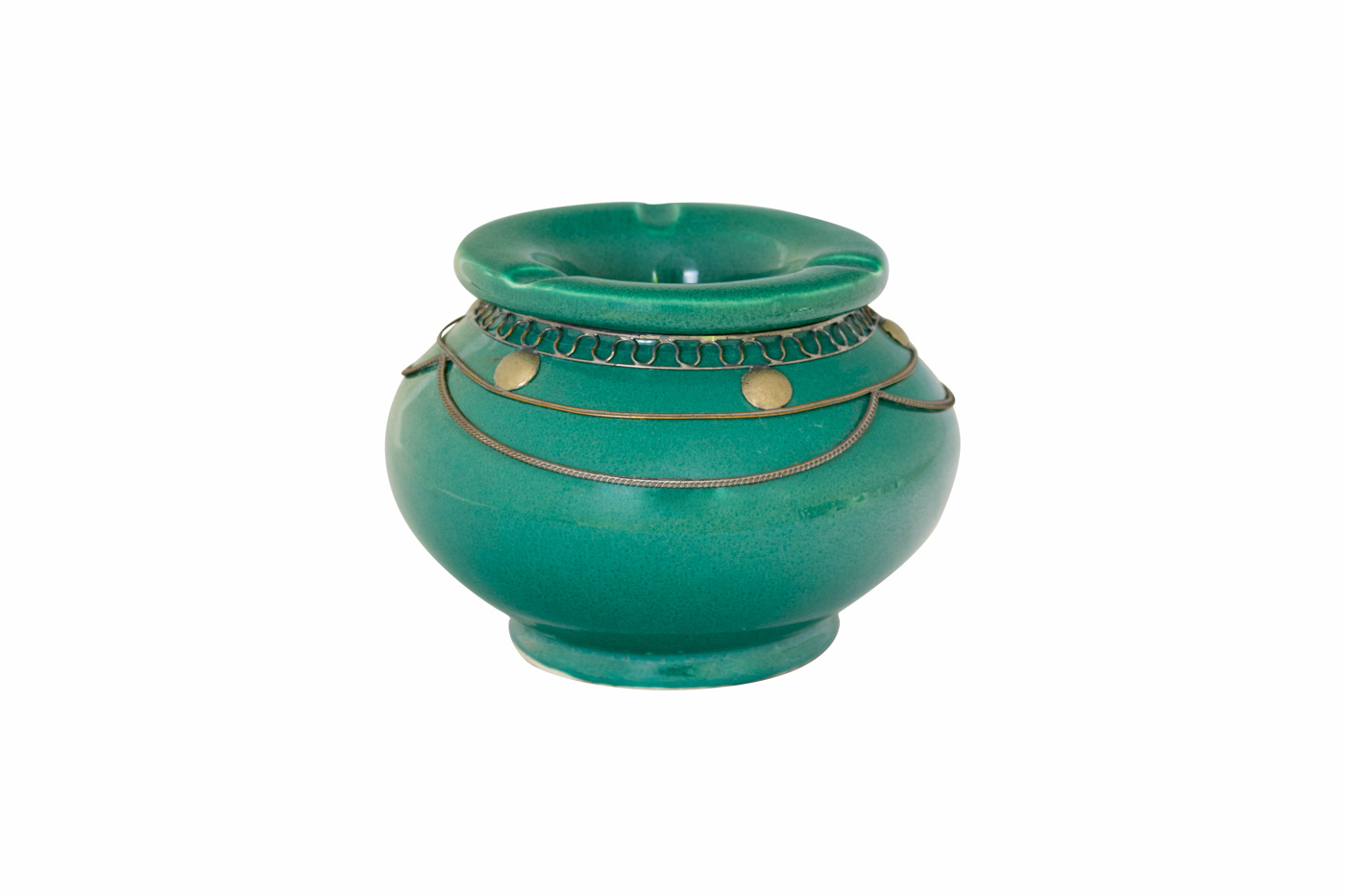 Moroccan ashtray in ceramic and metal, turquoise