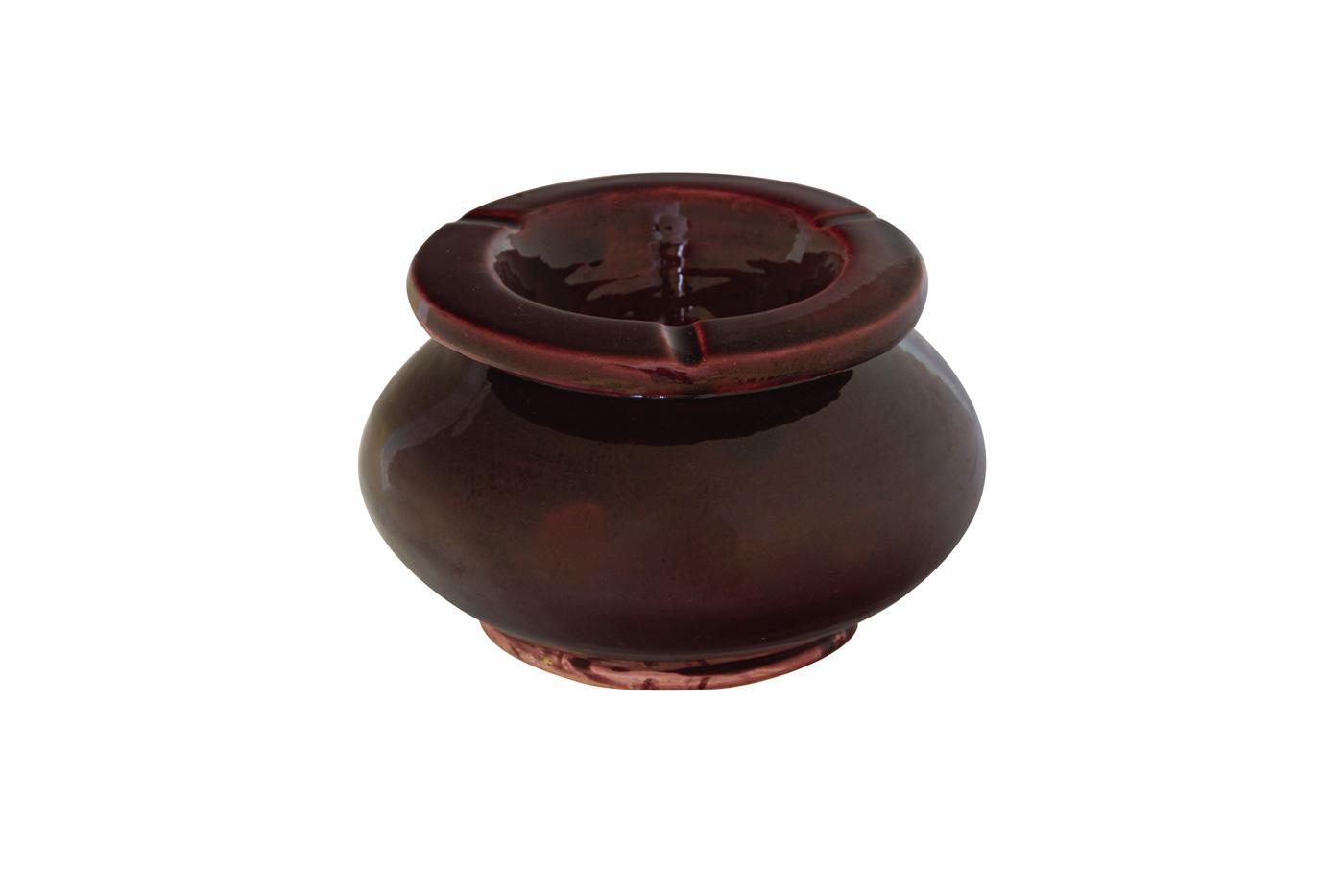 Moroccan ashtray in ceramic, dark red