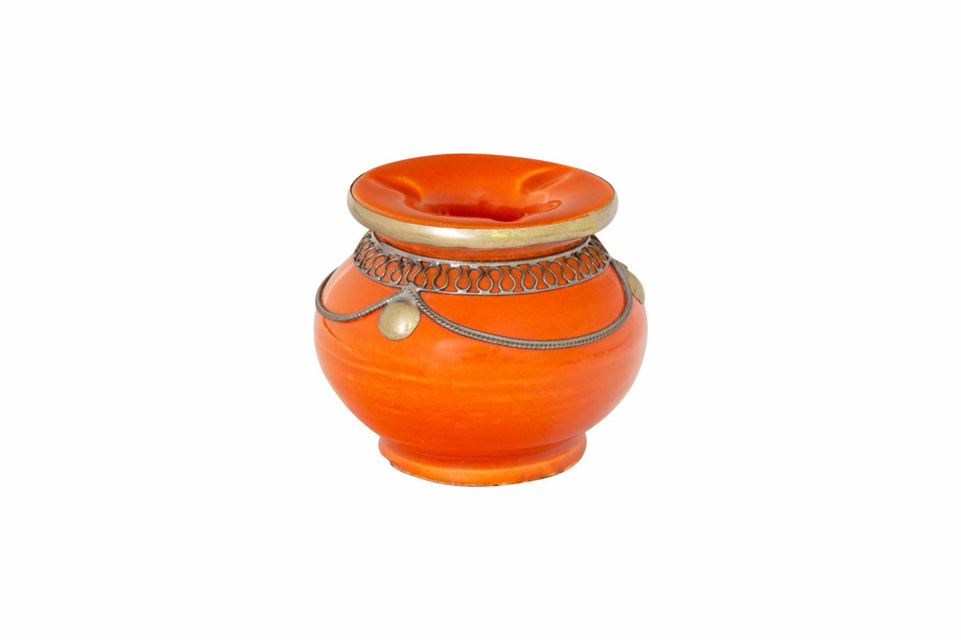 Moroccan ashtray in ceramic and metal, orange small