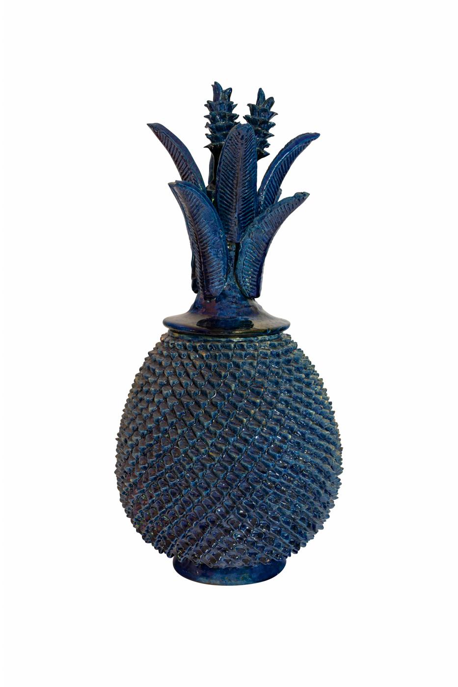 Piña Mexicana en cerámica, azul