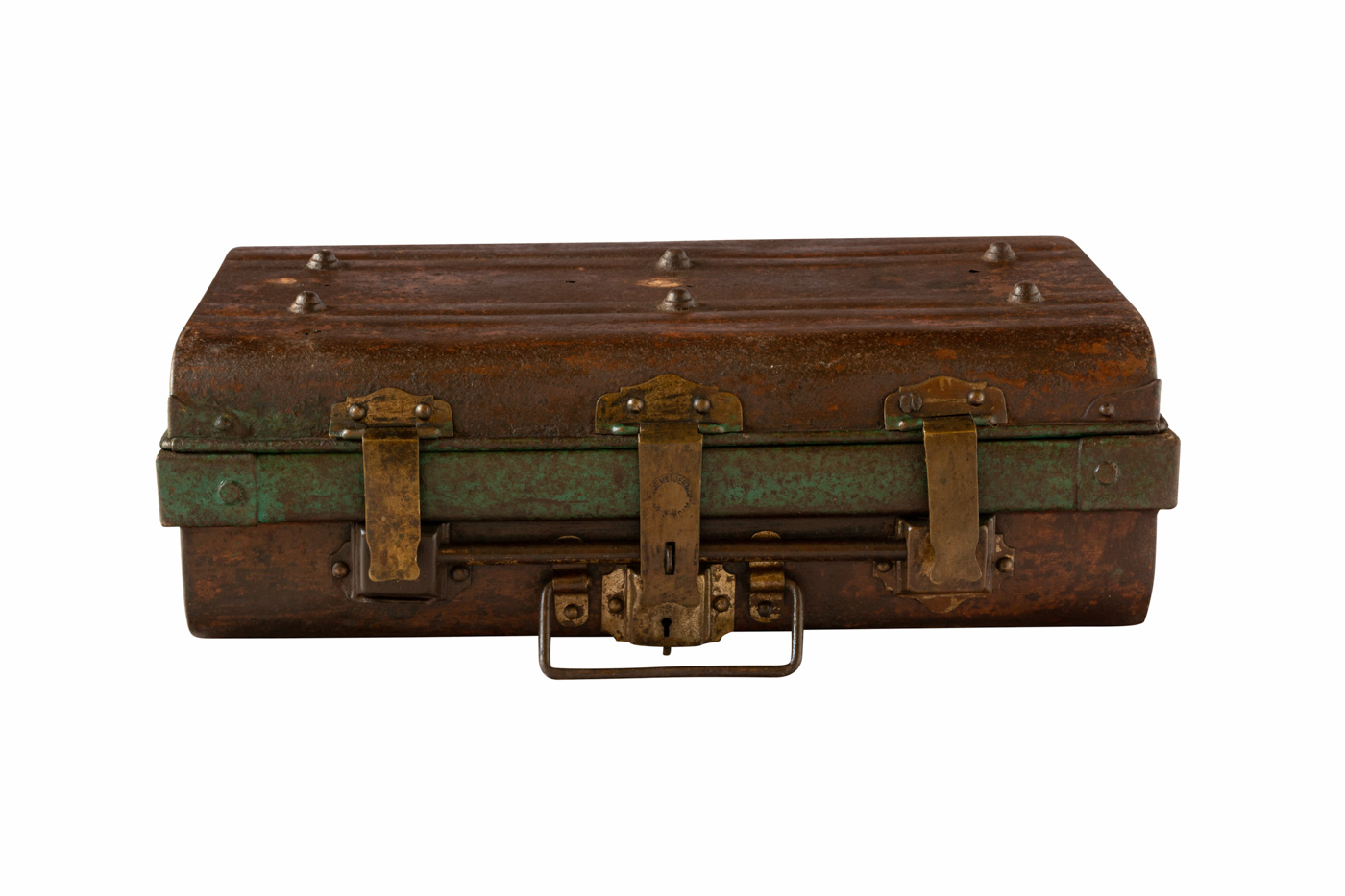 Antique Vietnam antique suitcase in metal, aged green