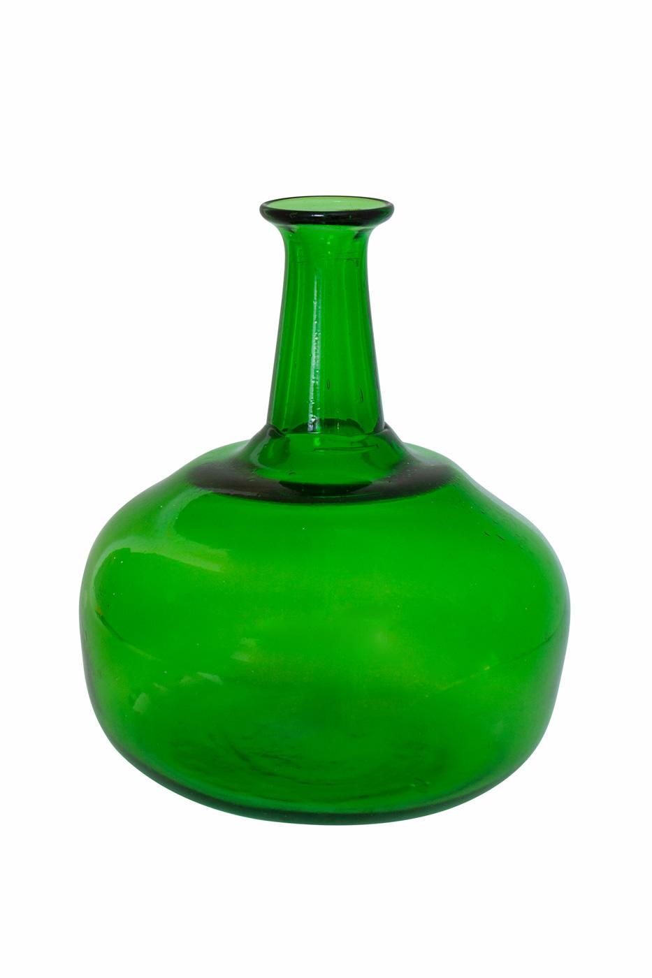 Decorative Green Glass Bottle