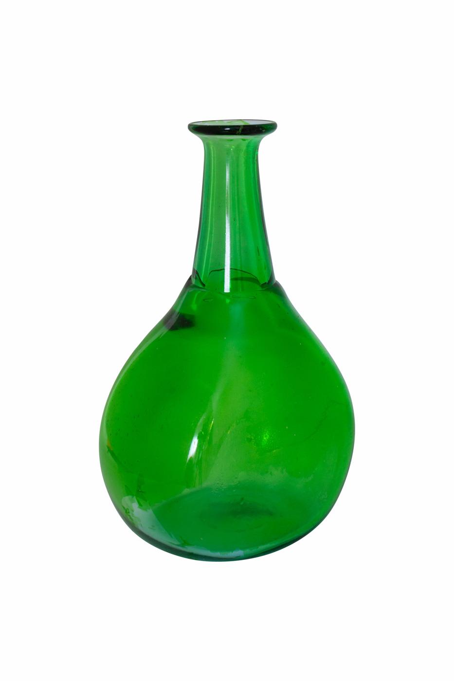 Botella decorativa de vidrio verde