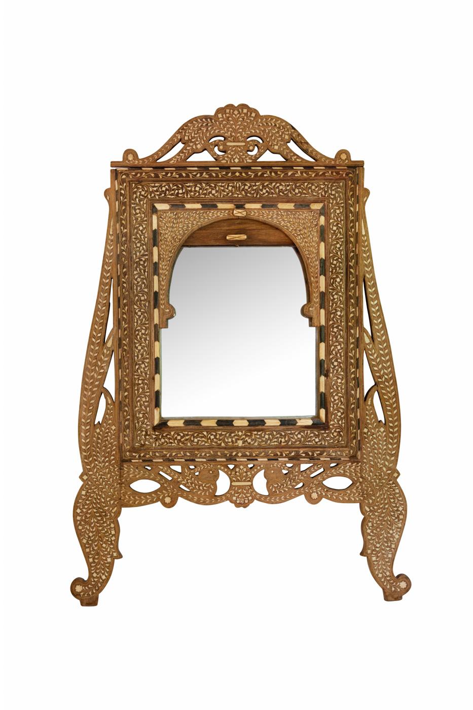 Sirio mirror in wood with bone inlay.