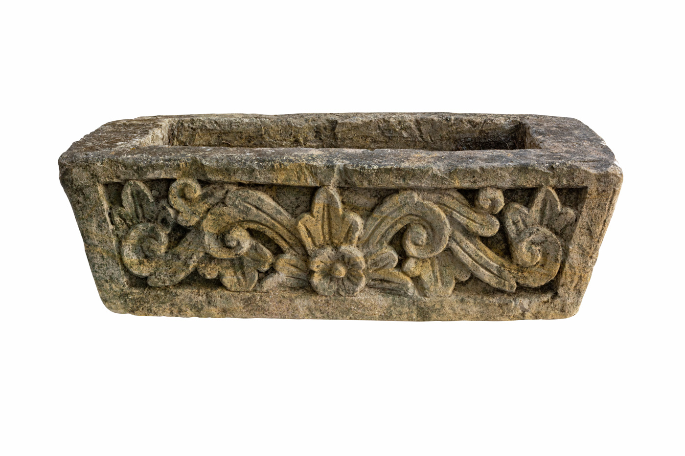 Jardinera tallada en piedra diseño floral