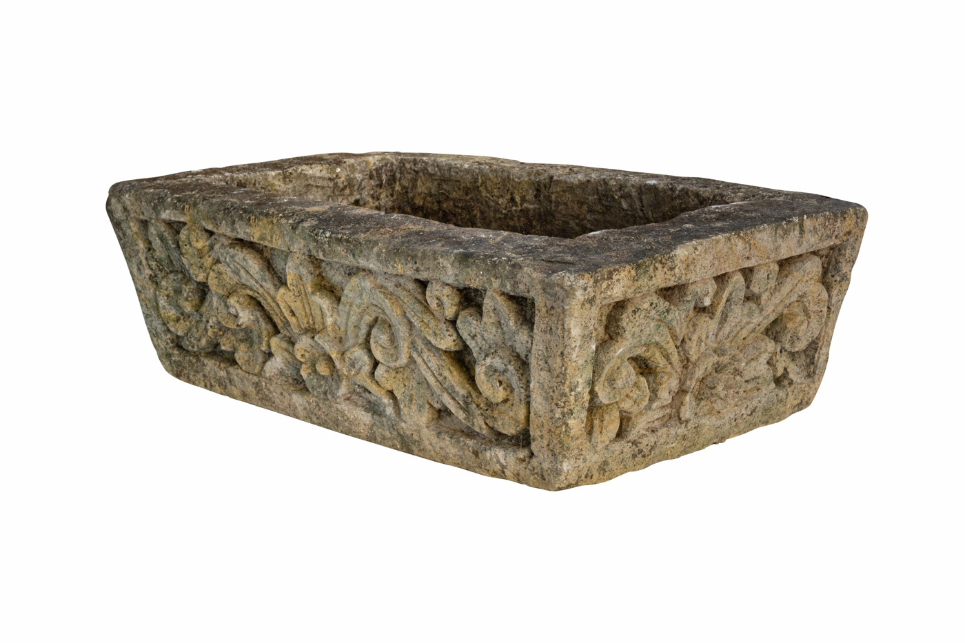 Flower pot carved in stone with floral design