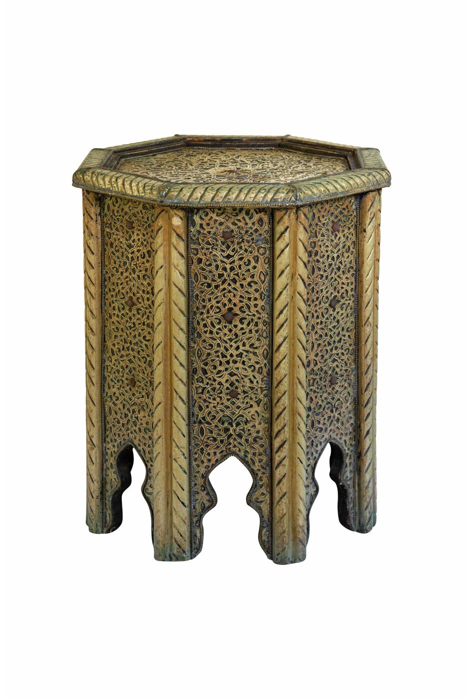Mesa auxiliar Marroquí en madera y lámina de metal, 40 Cm