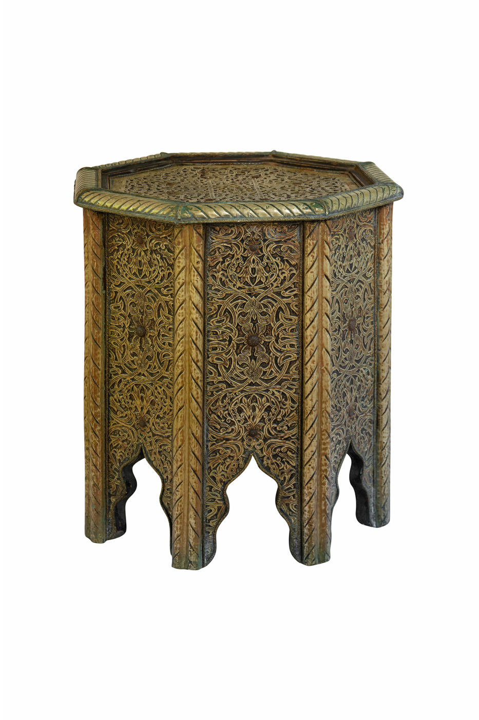 Mesa auxiliar Marroquí en madera y lámina de metal, 46 Cm