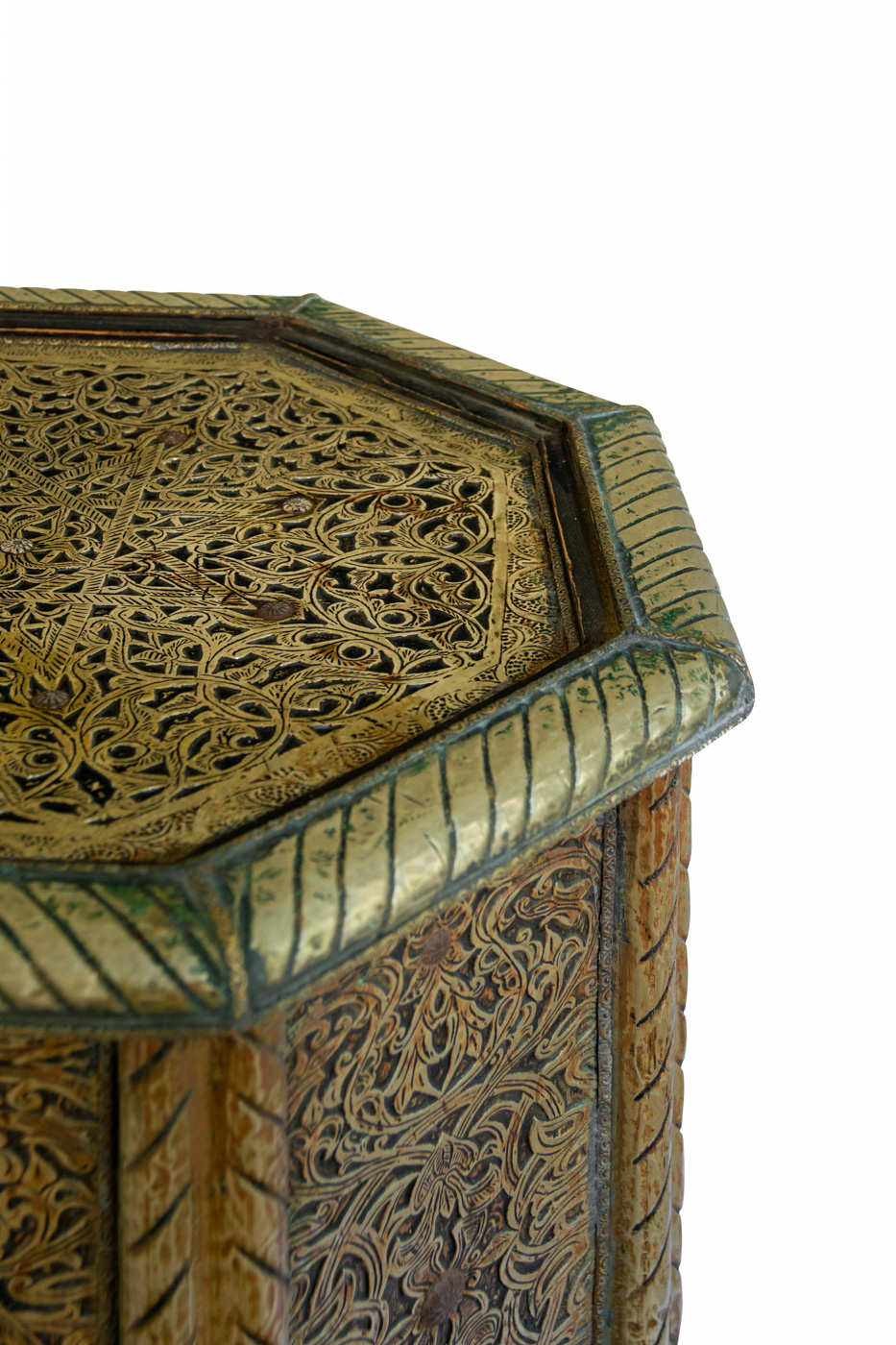 Moroccan side table in wood and sheet metal, 46 Cm