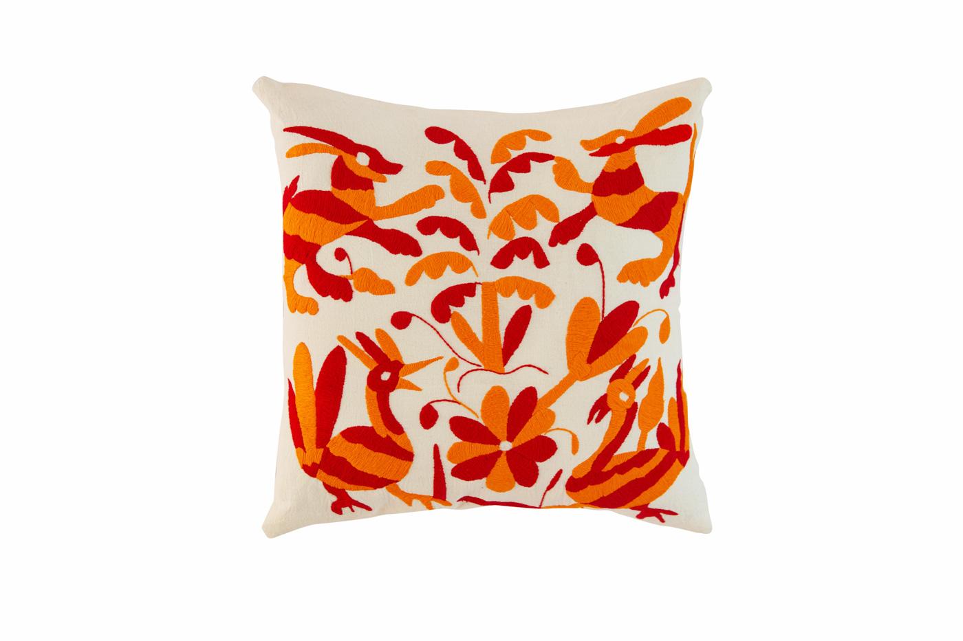 Otomi Mexican Pillow Alebrijes oranges