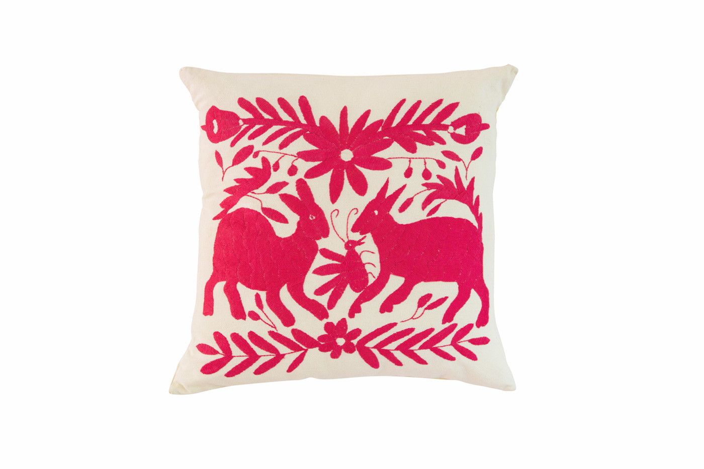 Mexican Otomi Mexican cushion with fuchsia rabbits