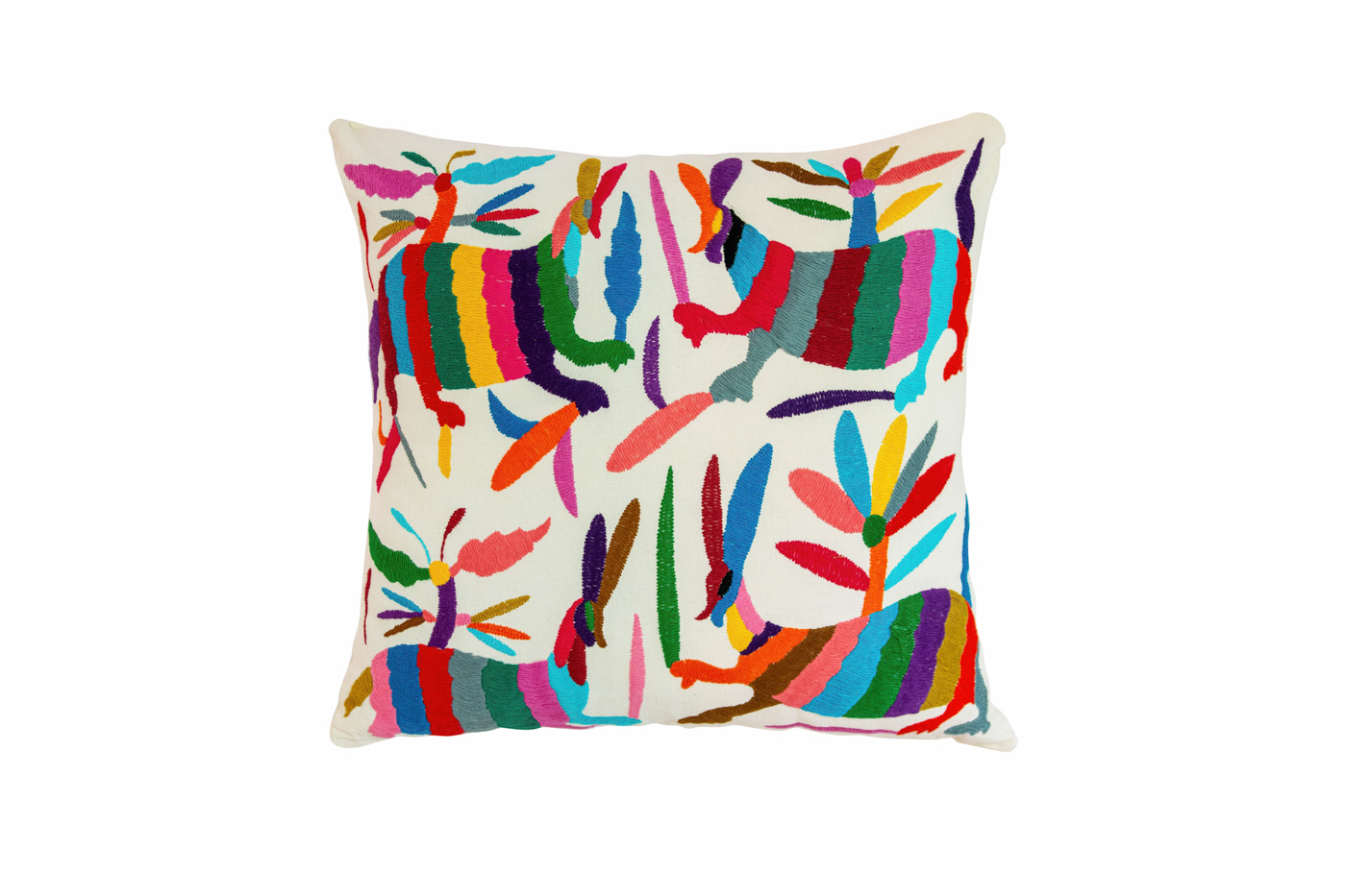 Otomi cushion with multicoloured rabbits