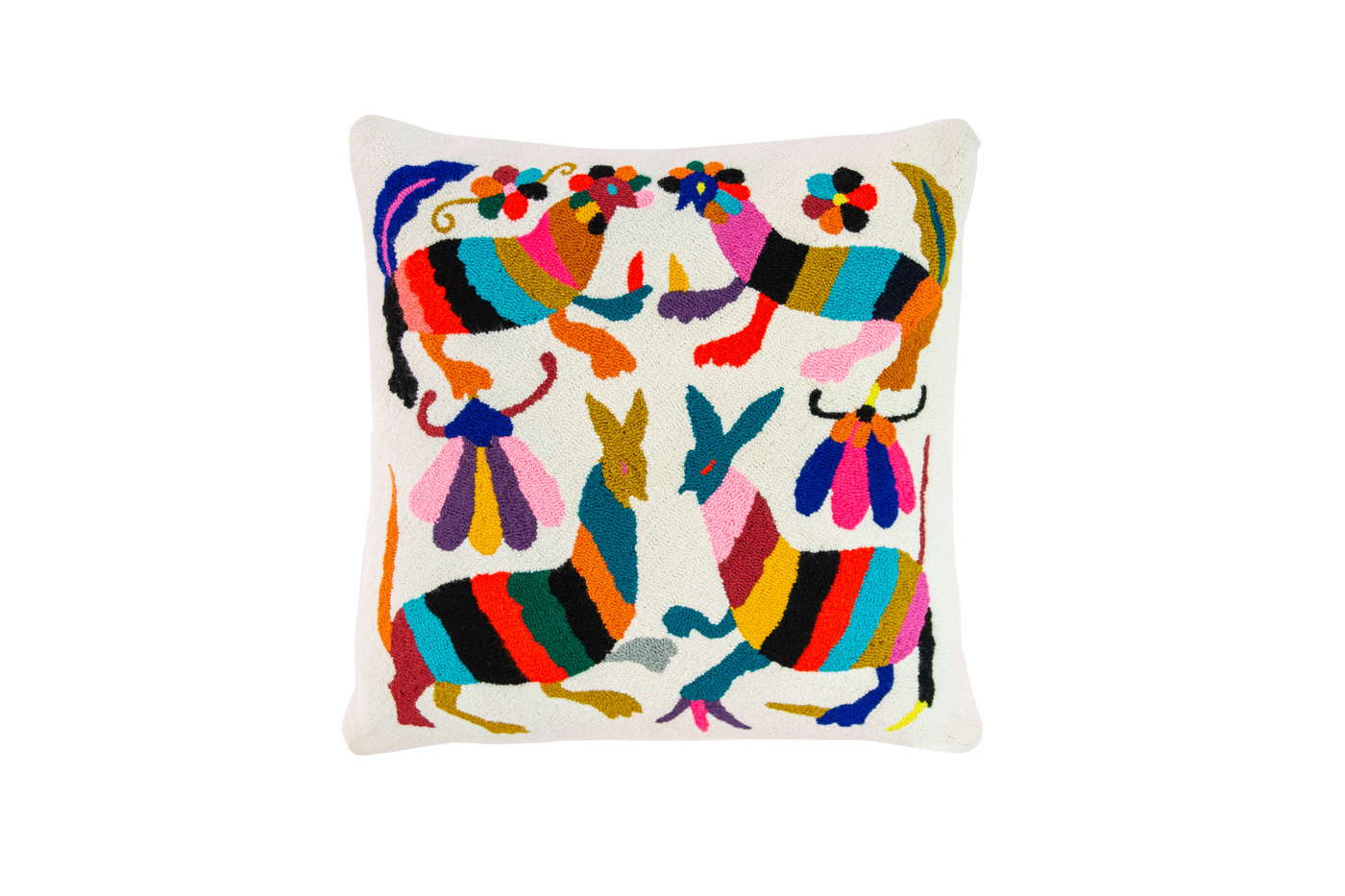 Puyao cushion multicolored Mexican animals