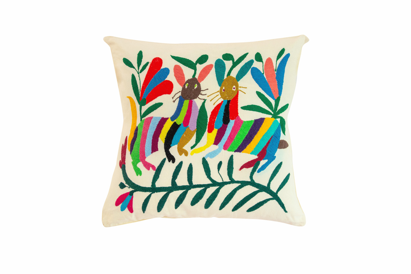 Otomi Mexican cushion with multicolored rabbits