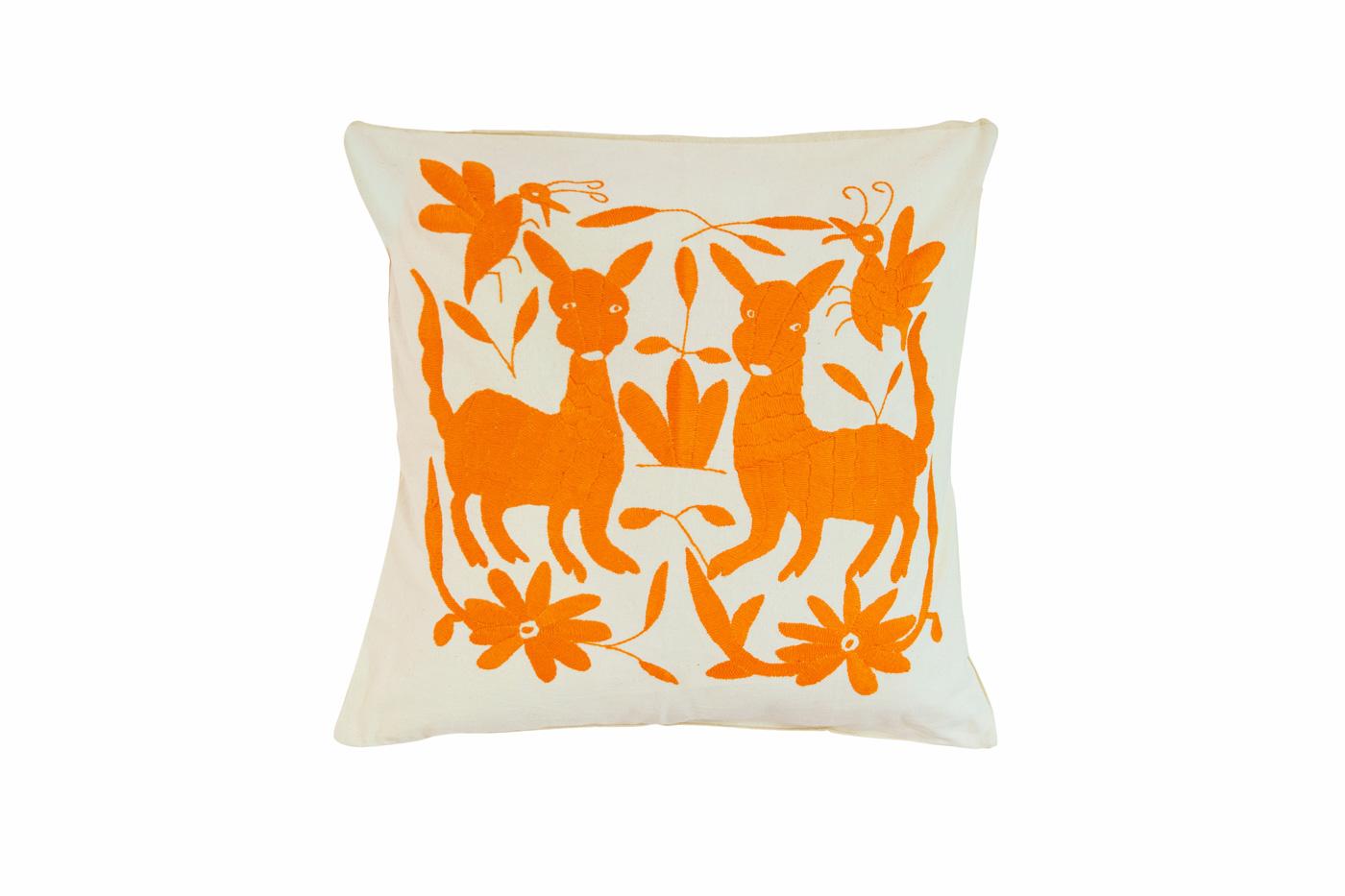 Otomi deer orange cushion