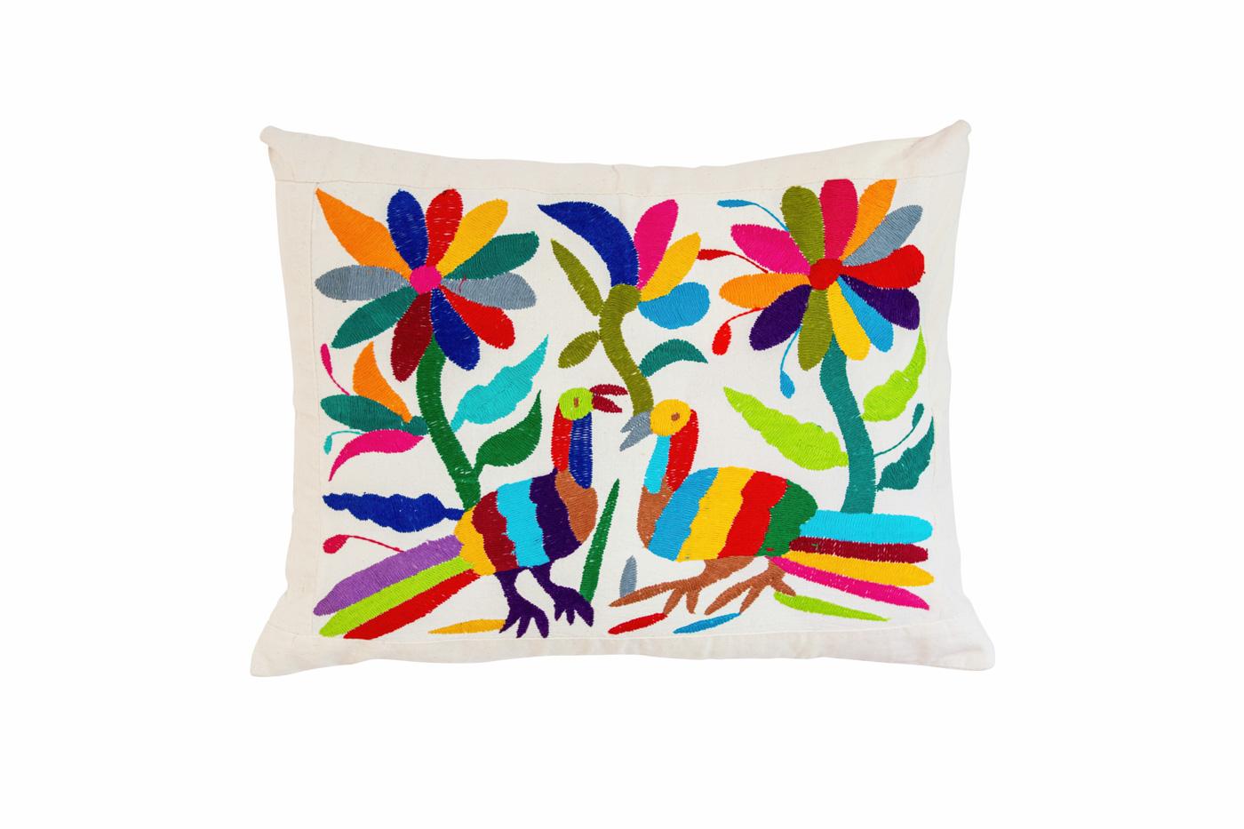 Otomi cushion multicolored flowers