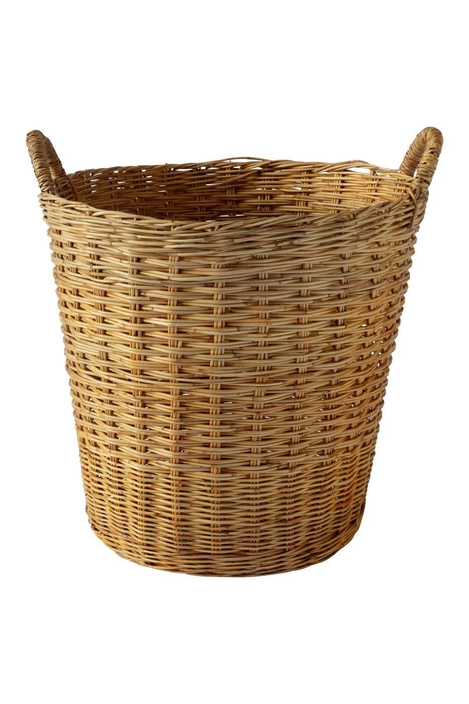 Natural fibre storage basket with handles