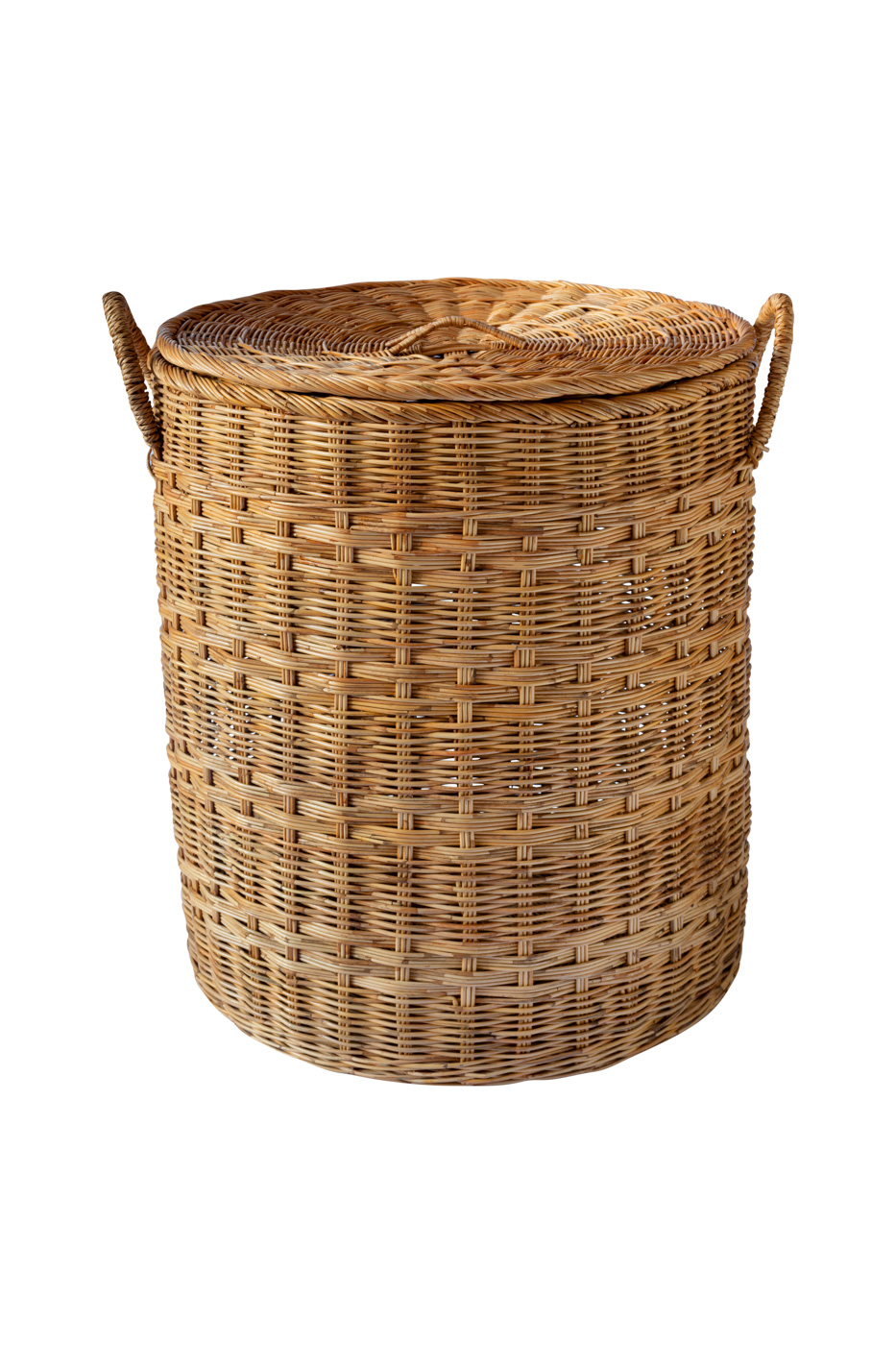 Storage basket in natural fibre with lid