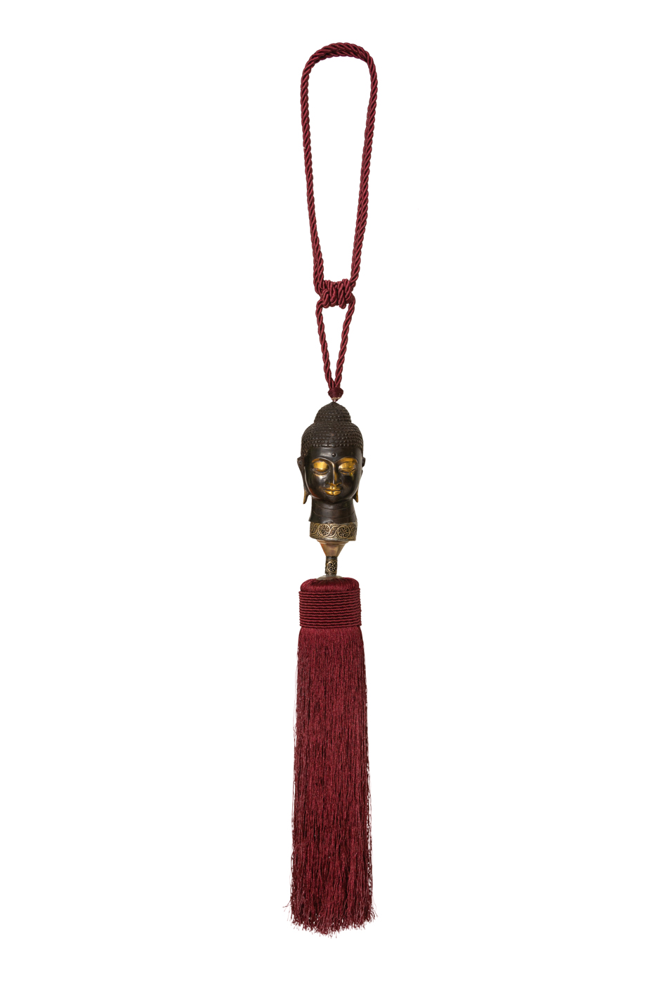 Moroccan tassels for curtains in silk threads and red wine Buddha's head.