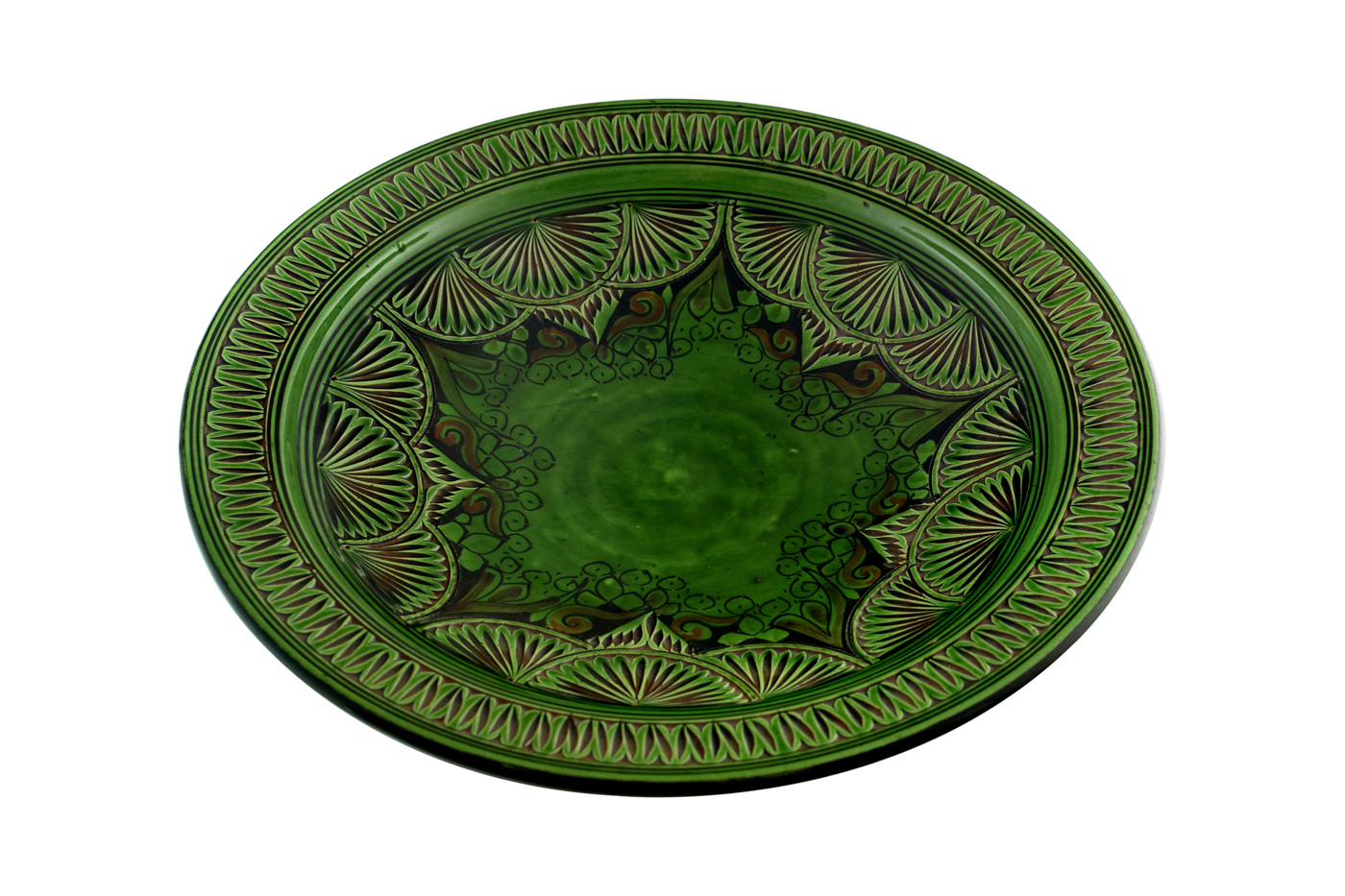 Moroccan ceramic plate carved with floral arabesque designs- green