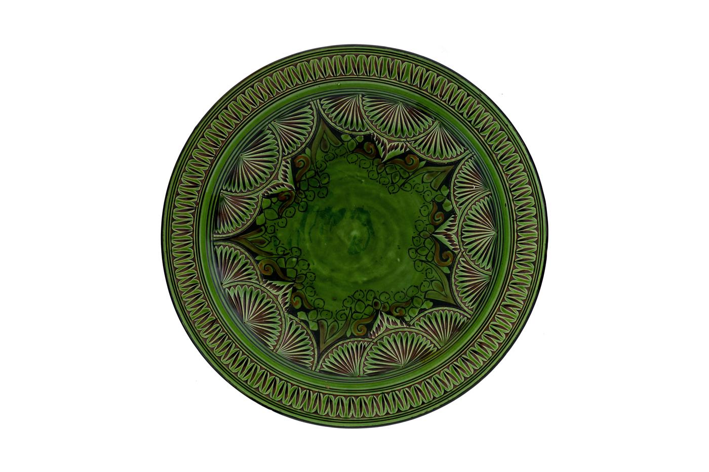 Plato Marroquí en cerámica tallado con diseños de arabescos florales- verde