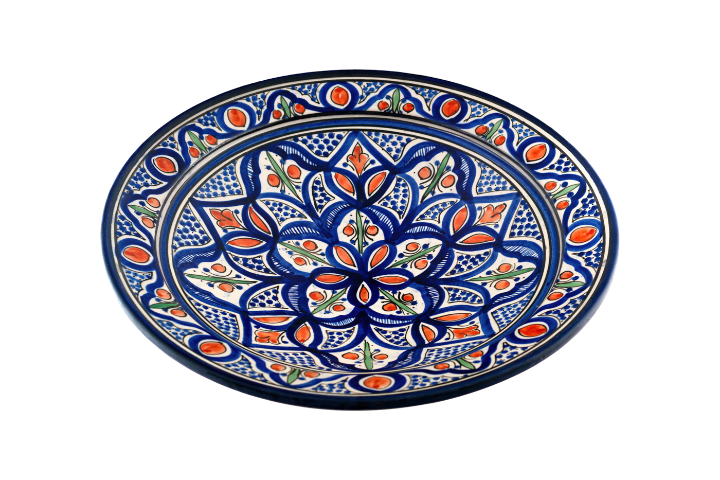 Moroccan ceramic plate painted with floral designs, Blue/Orange