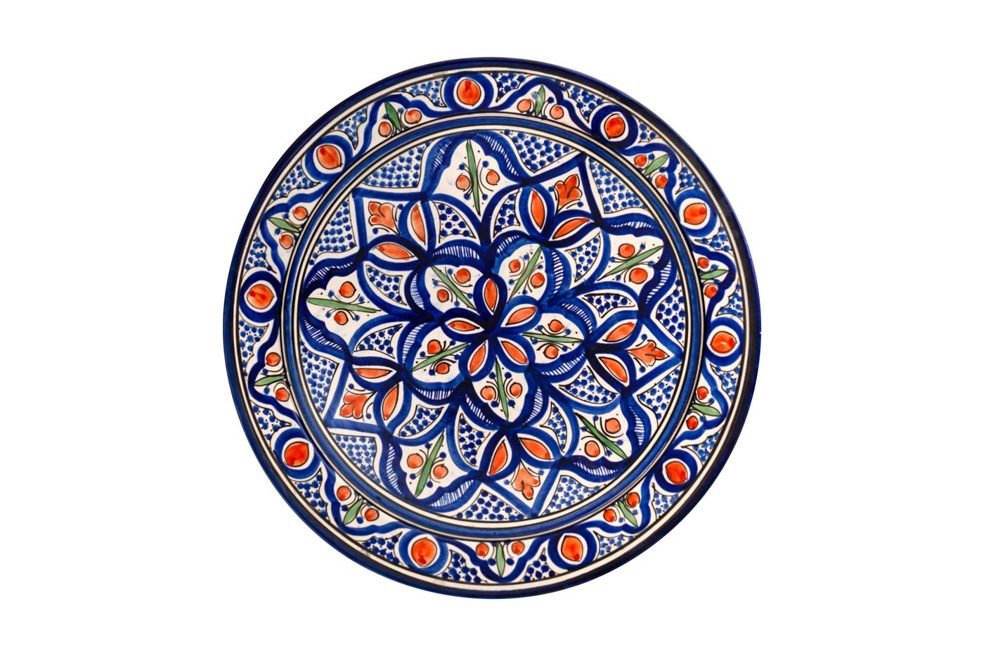 Plato Marroquí en cerámica pintado con diseños florales, Azul/naranja