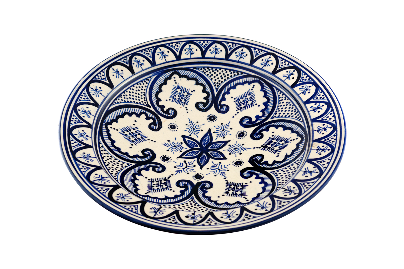Moroccan painted ceramic plate with floral arabesque designs - White/Blue