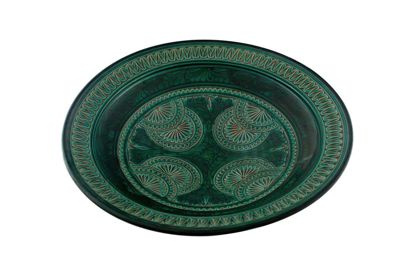 Moroccan carved ceramic plate with floral arabesque design, hunter Green