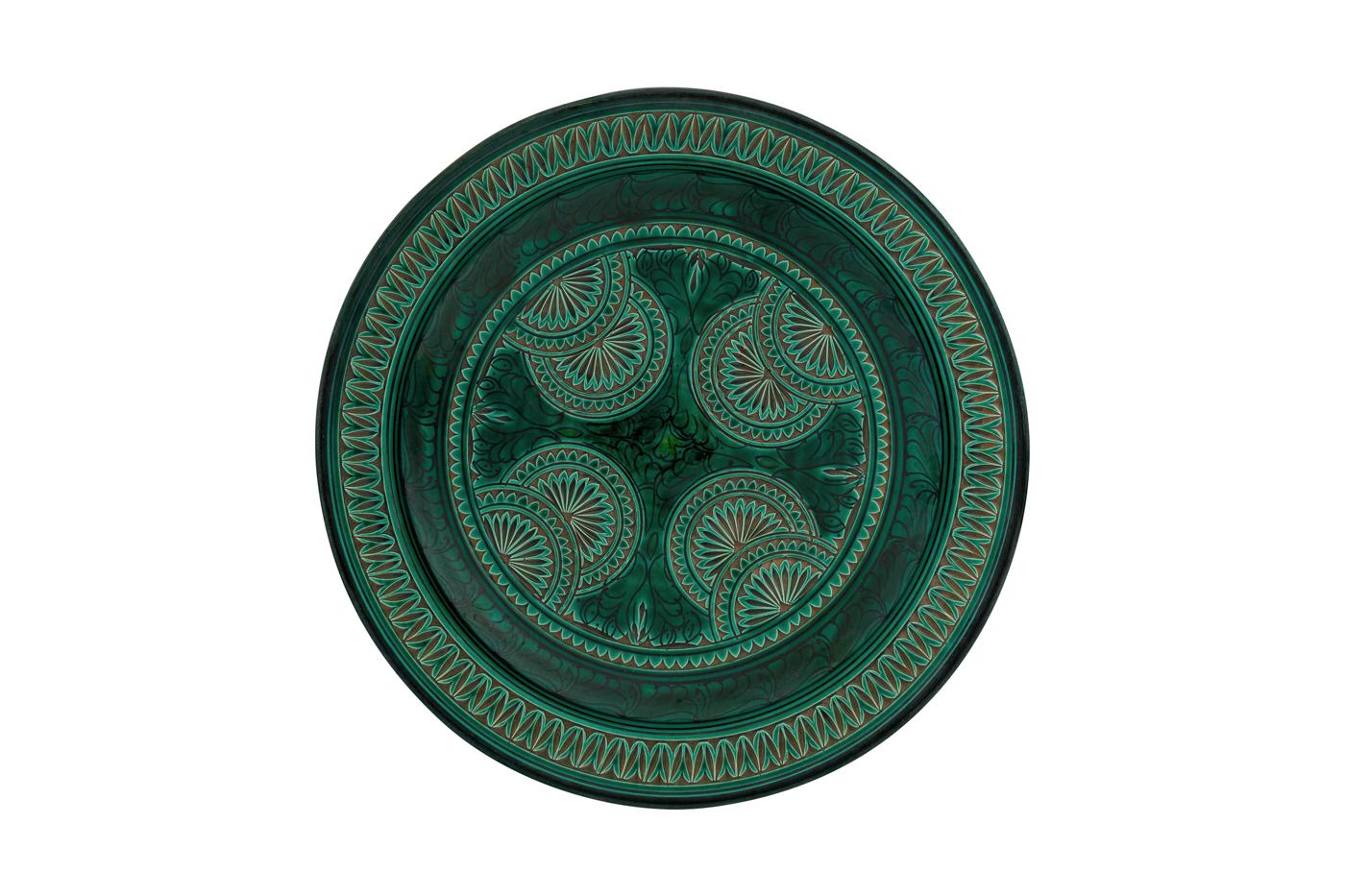 Plato Marroquí en cerámica tallado con diseño de arabescos florales, Verde hunter