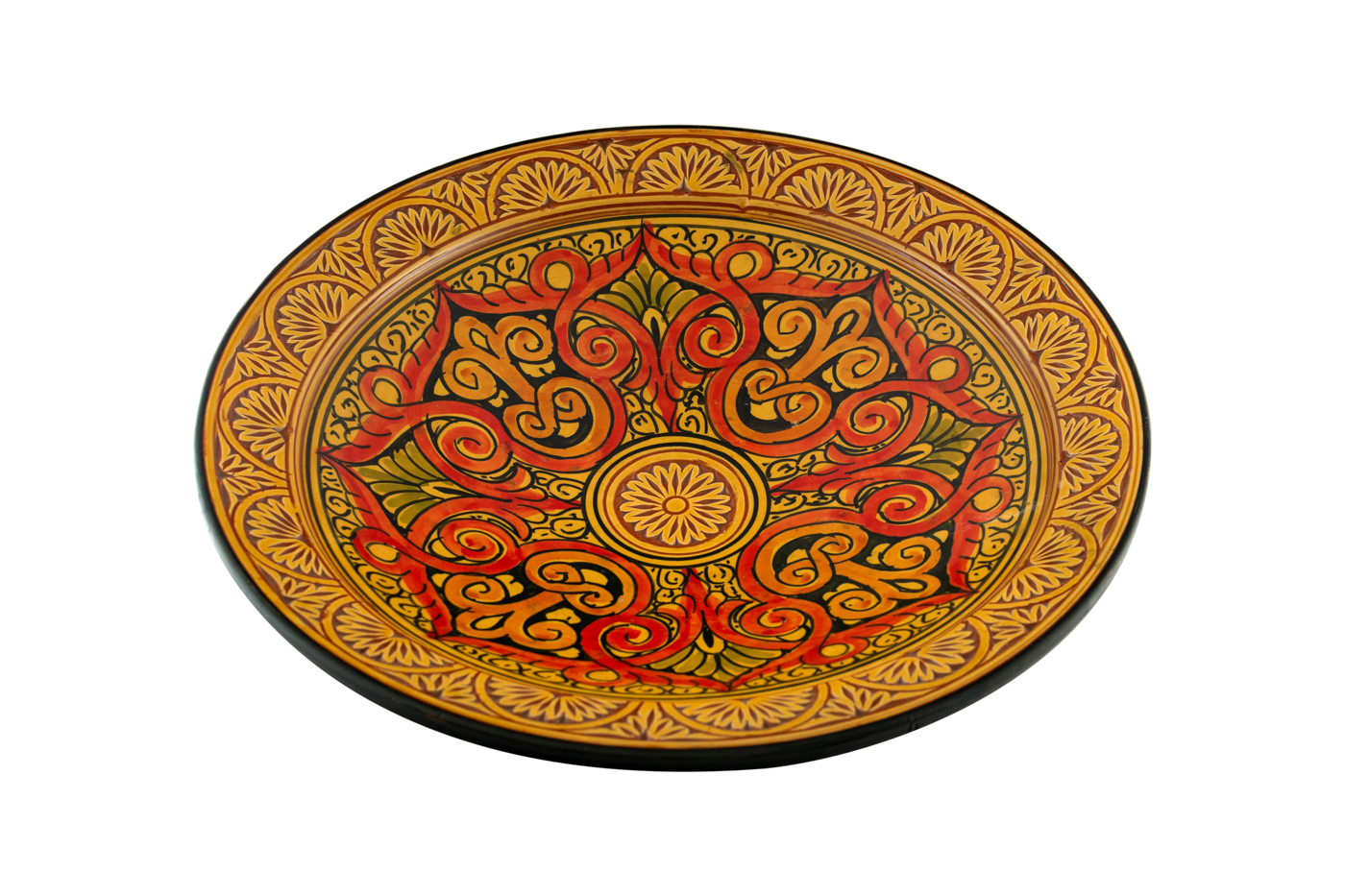 Moroccan ceramic plate carved with geometric arabesque designs-Orange/Yellow