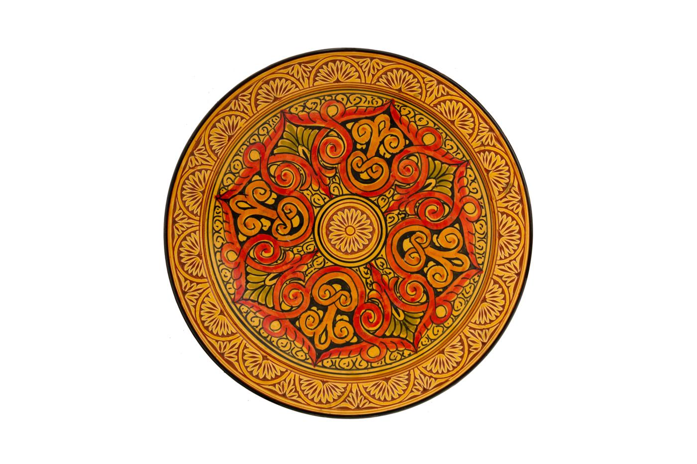 Plato Marroquí en cerámica tallado con diseños de arabescos geométricos-Naranja/amarillo