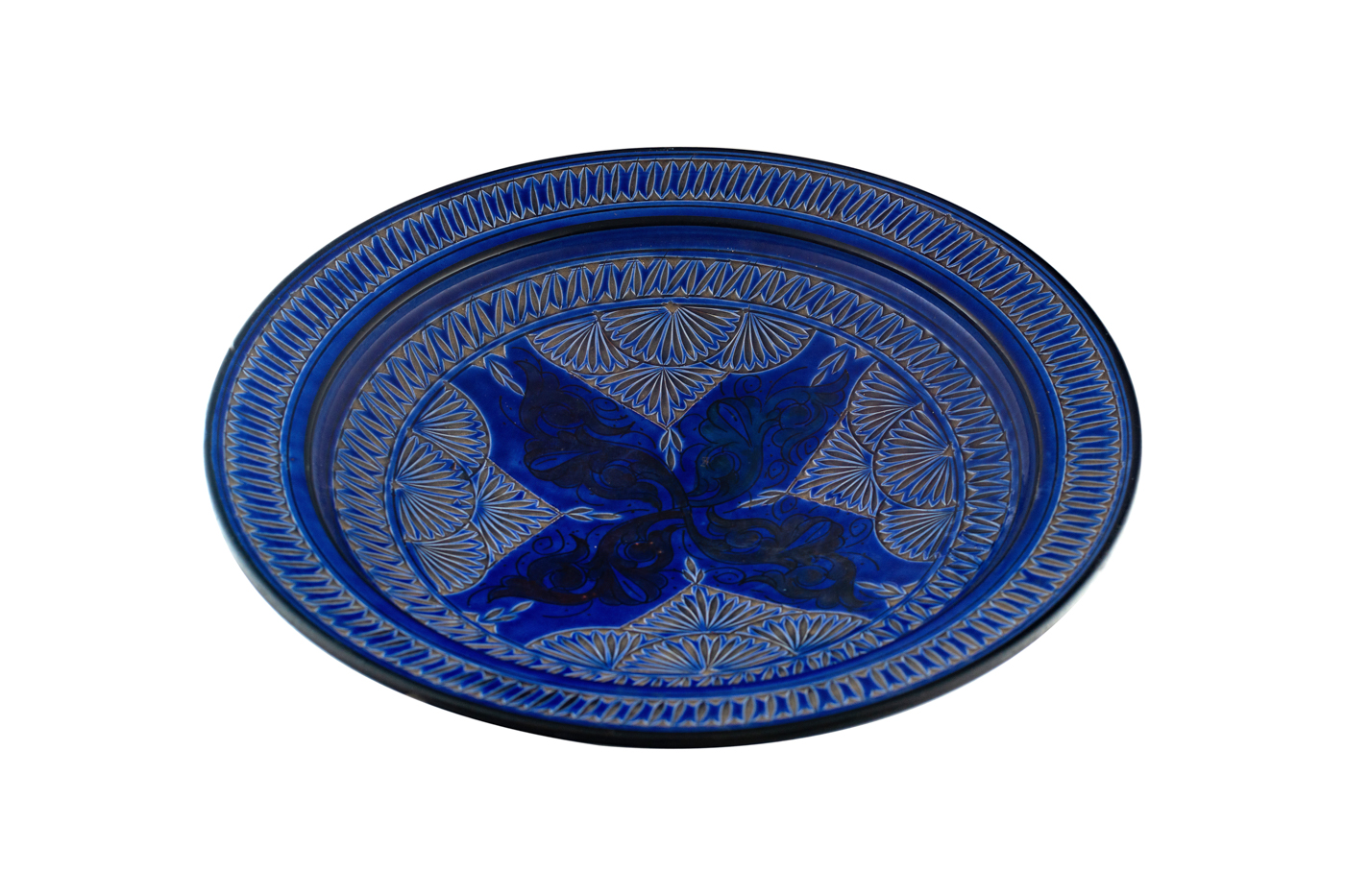 Moroccan carved ceramic plate with floral arabesque design- King Blue