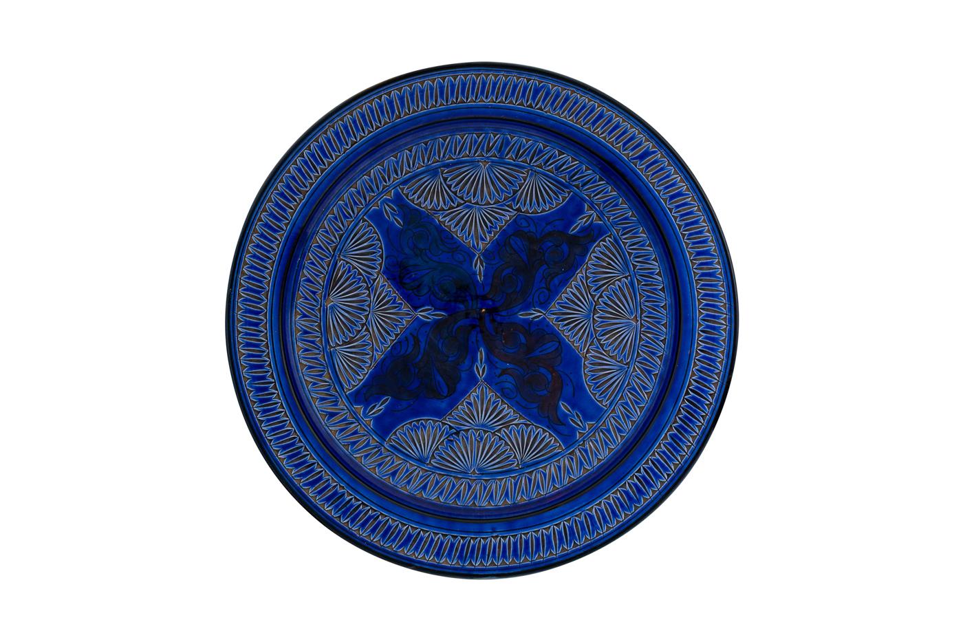 Plato Marroquí en cerámica tallado con diseño de arabesco  florales- Azul rey